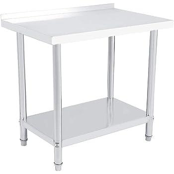 LxPxA: 100x60x85cm SAILUNTavolo da Cucina da Lavoro Piano in Acciaio Inox per Cucina Professionale Catering