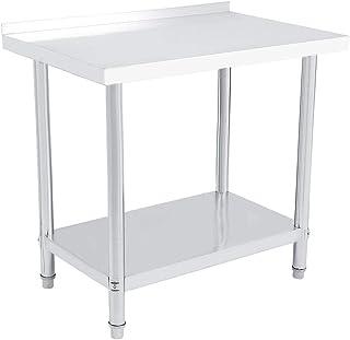Mesa de trabajo de acero inoxidable para cocina con borde doble capa altura regulable mesa de trabajo aparador de plat...