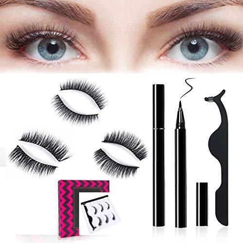 3D Wimpern mit Eyeliner Kit (Upgrade 2020 von Magnetic Eyelashes), selbstklebender Eyeliner für falsche Wimpern - 3 Paar Wimpern + Magnetic Eyeliner Set