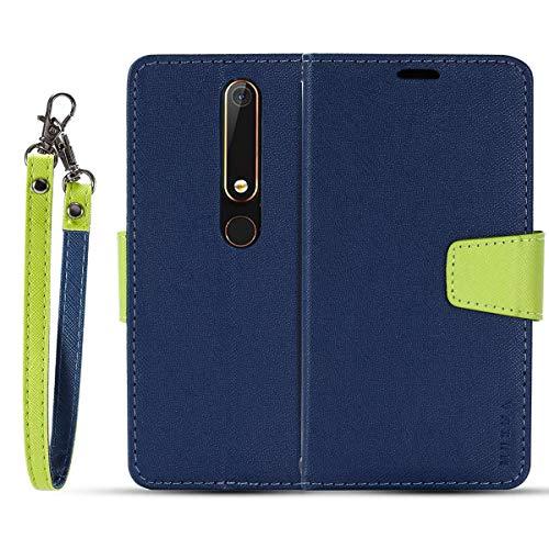 JEEXIA® Schutzhülle Für Nokia 6.1 (2018) / Nokia 6 2018, Retro PU Lederhülle Flip Cover Brieftasche Innenschlitzen Mit Stand Doppelte Farbe Ledertasche - Blau
