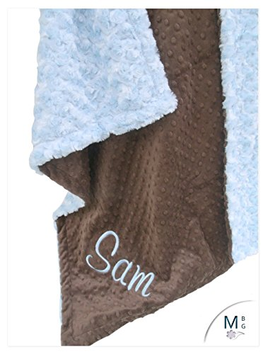 MinkybabyGifts Personalized Minky Baby Blanket in Gray and Blue