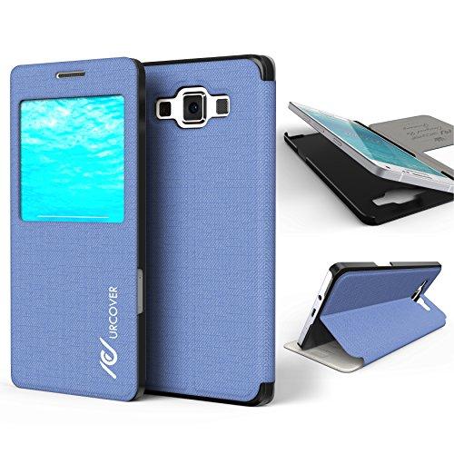 Urcover Custodia Portafoglio Galaxy A3 (2015), Wallet Case [Funzione S-View/Stand] Cover Libro Rigida Samsung Galaxy A3 (2015) 4,5 Pollici - Blu