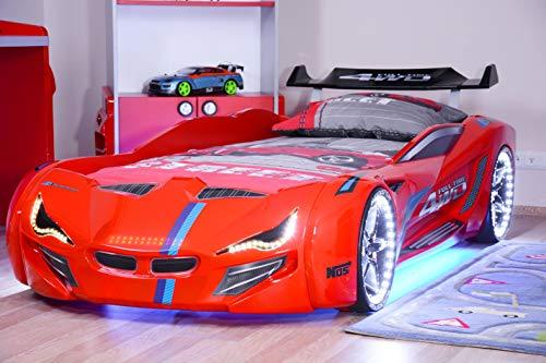 Red LED/Lights/Sounds Car Kids Bed