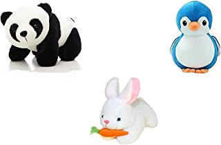 Myric Soft Plush Stuff Toys in Low Budget Combo of 3 Black Penguin Dolphin and Rabbit Kids Gift Return Gifts