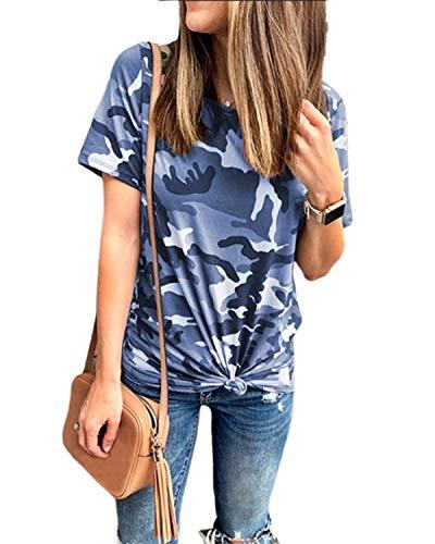 ZANZEA Damen Rundhals Kurzarm T-Shirts Camouflage Bluse Lose Longshirt Oversize Tops 03-blau X-Large