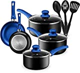 Kitchen Cookware Set, 11 Piece Pots and Pans Set for Cooking Nonstick, Dishwasher Safe Cooking Utensils Set by Halter (Blue)