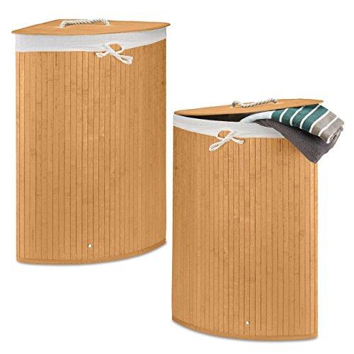 Relaxdays 2 x Eckwäschekorb im Set, Wäschetrennsystem aus Bambus, Wäschesammler mit herausnehmbarem Wäschesack, je 64 L, Natur