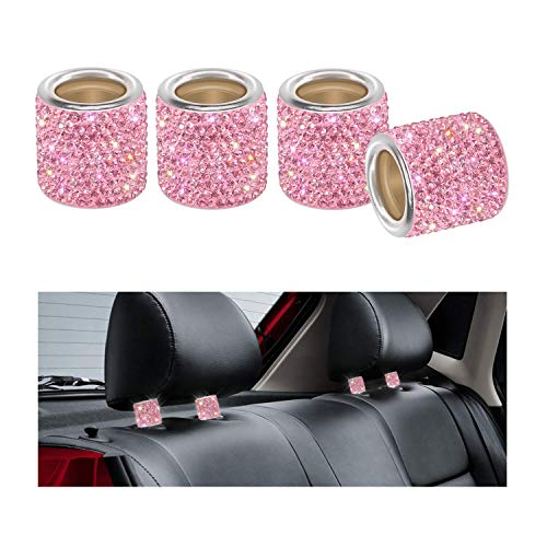 Auto Kopfstützen Halsbänder, YINUO 4 Stück Kristall Universal Chrom Auto Innendekoration Bling Auto Zubehör für Frauen - Rosa