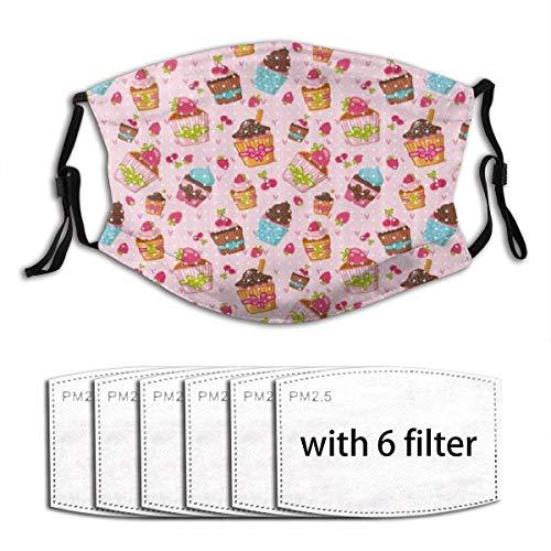 Gesichtsmasken Pink Cupcakes Muffins Print Erdbeer-Kirsch-Sturmhaube Wiederverwendbare Anti-Staub-Mund-Bandanas mit 6 Filtern