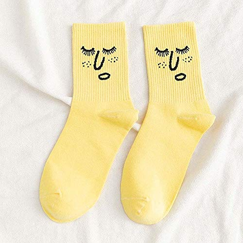 RTESBGH Novelty Sokken, Geel Novelty Soft Comfy Funky Harajuku Trend Kleurrijke Grappige Sokken Kawaii Sokken Unisex Surprise Mid Sokken (3Ps)
