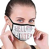 Funda unisex reutilizable para la boca de la nariz, texto tipográfico de Hello Winter con cara divertida en un sombrero rodeado de copos de nieve, con bucles ajustables para las orejas