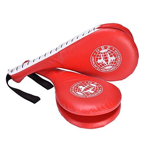 Colpitori Taekwondo Doppio Strato di Progettazione, 1 paio Taekwondo Kick Pad Target per Formazione Punzonatura Boxe Karate ( Colore : Rosso )