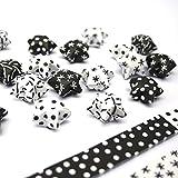 Papierstreifen zum Sterne Basteln | Origami Bastelset für 75 Lucky Stars | 6 versch. Muster in Schwarz – Weiß