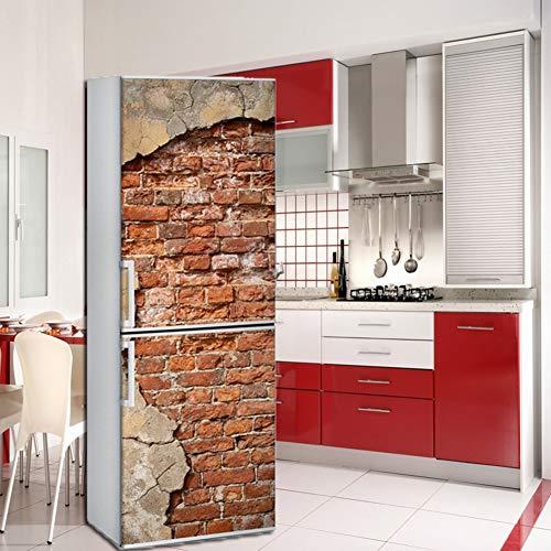 Lee My Adesivi per Frigo Frigorifero Porta Wrap Cover Mattone Rosso Vintage HD da Cucina Rimovibile Fai da Te Art Decal,60x180cm/23.6x70.8