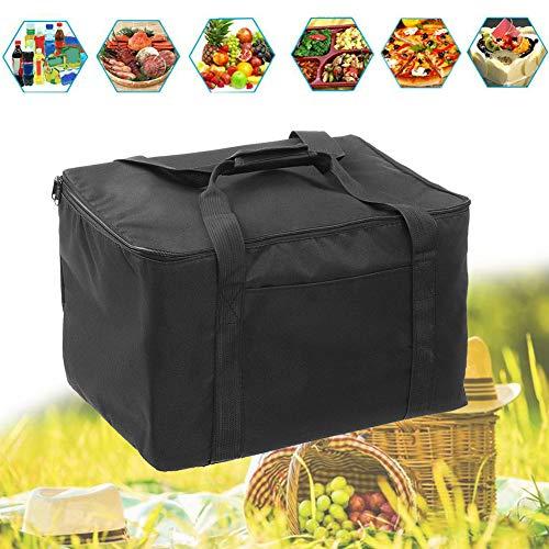 LZDseller01 Isolierte Pizza-Liefertasche, wasserdicht, tragbare Isolierungstasche, Thermo-Picknicktasche für heiße Lebensmittel wiederverwendbar, nicht null, Schwarz , (32L) UK