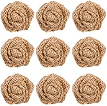 Darice 9 Piece Rolled Burlap Fabric Rosettes | Shabby Chic Natural Burlap Color Small Rose Flowers