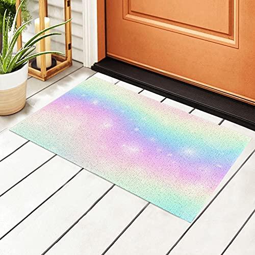 FFLSDR Felpudo holográfico Colorido Pastel Galaxia arcoíris PVC alfombras de Piso Alfombra de Entrada Patio Almohadilla de Entrada 40X60CM
