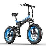 X3000plus 48V 1000W Bicicleta eléctrica Plegable para Nieve Bicicleta de montaña de 20 Pulgadas Suspensión Completa Delantera y Trasera con Pantalla LCD (Black Blue, 17.5Ah)