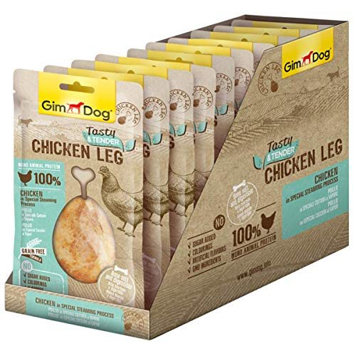 GimDog Tasty & Tender Chicken Leg - Getreidefreier Hundesnack mit Calcium aus 100 % Huhn - 10 Beutel (10 x 70 g)