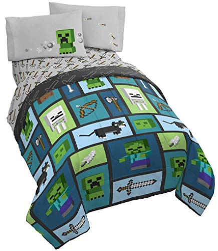 Minecraft Chibi College 4 Piece Twin Bed Set - Includes Reversible Comforter & Sheet Set - Bedding Features Creeper & Ghost - Super Soft Fade Resistant Microfiber - (Official Minecraft Product)