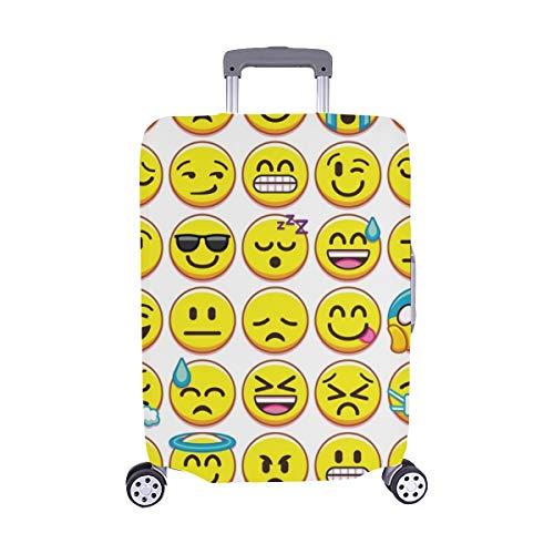 Establezca Diferentes Emojis aislados en la Maleta Spandex Maleta de Viaje Maleta Protectora para Viaje Cubierta 28.5 x 20.5 Pulgadas