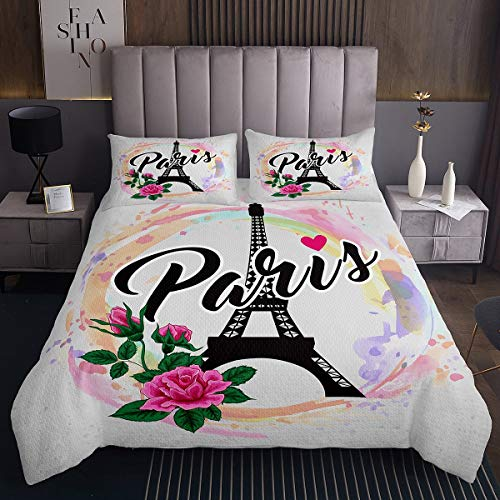 Erosebridal Eiffel Tower Coverlet Set, Tie-Dye Spiral Bedspread for Kids Boys Girls City Building Quilted Coverlet King Size Paris Flower Love Heart Bed Cover 3 Pcs with 2 Pillow Cases
