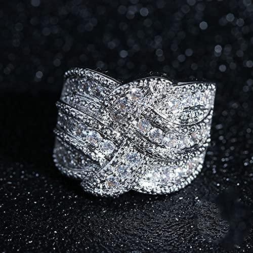 JIUXIAO Grandes Anillos de Diamantes de Laboratorio de Plata de Ley 925 con Piedra de circón para Mujer, Anillos de Diamantes de Laboratorio de Compromiso de Boda con Tejido de Moda