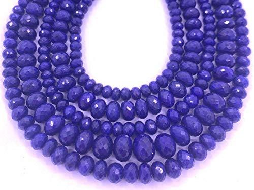 Shree_Narayani Cuentas sueltas de zafiro azul de calidad fina con micro facetas Rondelle 10-12 mm 14 pulgadas para hacer joyas, manualidades, collares, pulseras, pendientes, 1 hebra