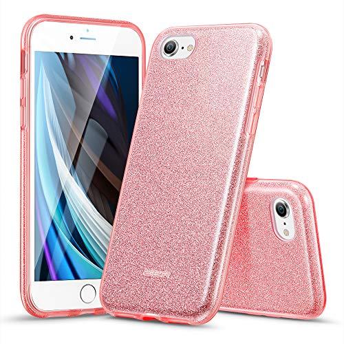 ESR Cover Compatibile con iPhone SE 2020,8,7, Custodia Glitterata da Donna Tre Strati Supporta la Ricarica Wireless, Compatibile con iPhone SE 2020 & iPhone 8,7, Oro Rosa Brillante