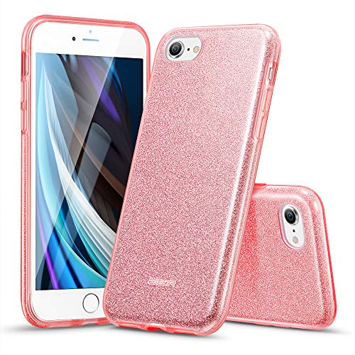 ESR Cover Compatibile con iPhone SE 2020,8,7, Custodia Glitterata da Donna Tre Strati Supporta la Ricarica Wireless, Compatibile con iPhone SE 2020 & iPhone 8,7, Oro Rosa Brillante