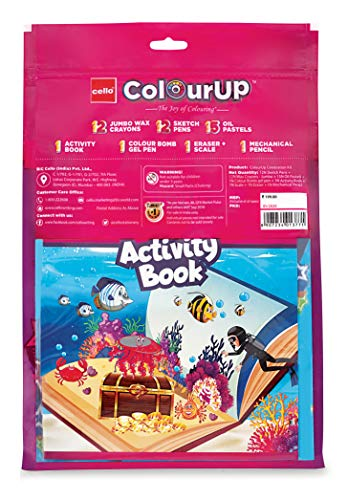 Cello ColourUP Celebration Kit - Mega Gift Pack | 15 Oil Pastels | Sketch Pens | 12 Jumbo Wax Crayons | 8 Assorted Items | Free Activity Book |... 2