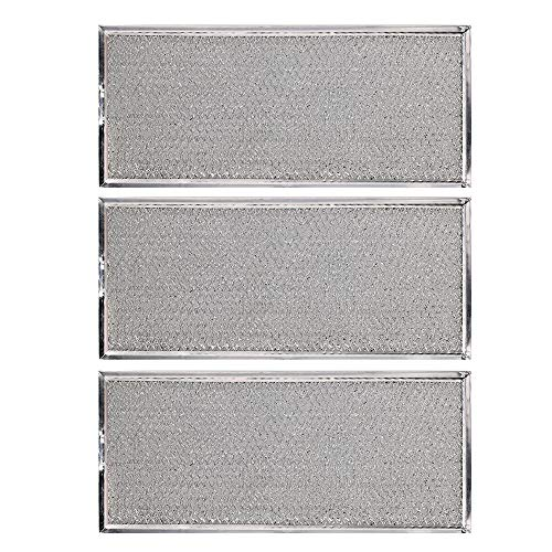 """KONDUONE 3-Pack of W10208631A Filter for Whirlpool Microwave Oven Grease Filter Approx. 13"""" x 6"""" -Replaces W10208631RP AP5617368 PS3650910 Grease Filter Aluminum Mesh Microwave Range Hood Filter"""