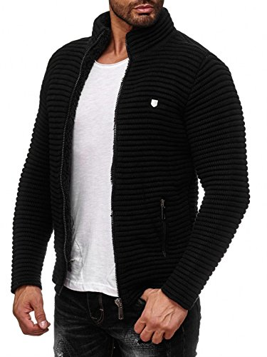 Red Bridge Herren Strickjacke Übergangsjacke Jacke Sweater Grobstrick M3631 (Schwarz, L)