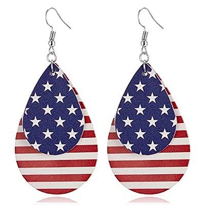 ROSTIVO American Flag Earrings for Women Leather Earrings for Women and Girls Cute National Flag Drop Dangle Earrings