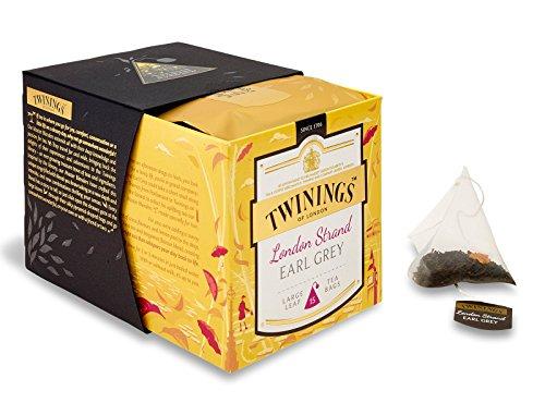 Twinings Platinum - London Strand Earl Grey - Té Negro Chino Perfumado con Bergamota con un Toque de notas Cítricas y Cáscara de Limón - Ingredientes en Trozos, 15 Sobres de Seda Piramidal
