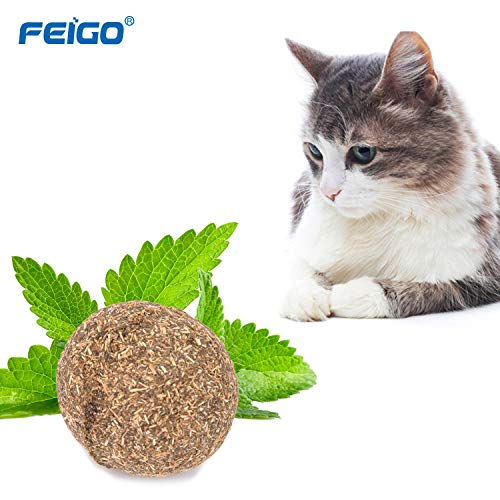 Juguetes con hierba gatera FEIGO Juguetes Menta Bola Naturales Matatabi Catnip Juguetes Hierba Pelota Mascotas Gatito Cuidado Limpieza Dientes