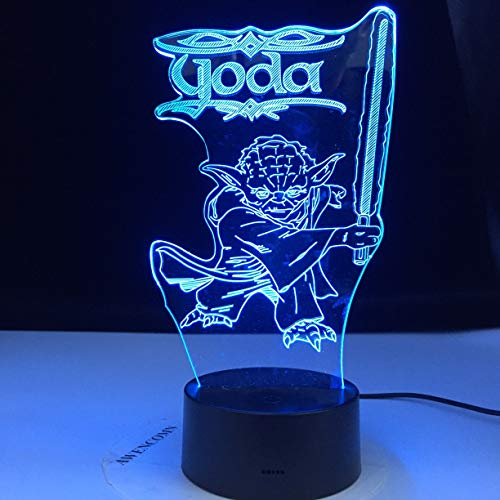 Only 1 Piece 3D Led Night Light Space Ship Yoda Figure Desk Lamp for Kids Bedroom Decor Table Lamp Children Projection Light Space Ship Yoda