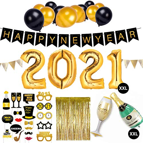 SicurezzaPrima Silvester Deko 2021 Party Set XXL - 44-teilig - Neujahr Silvesterdeko - Girlanden, XXL Mega Ballons, Pompoms, Foto, Fotorequisiten, Dekoration - schwarz, Gold