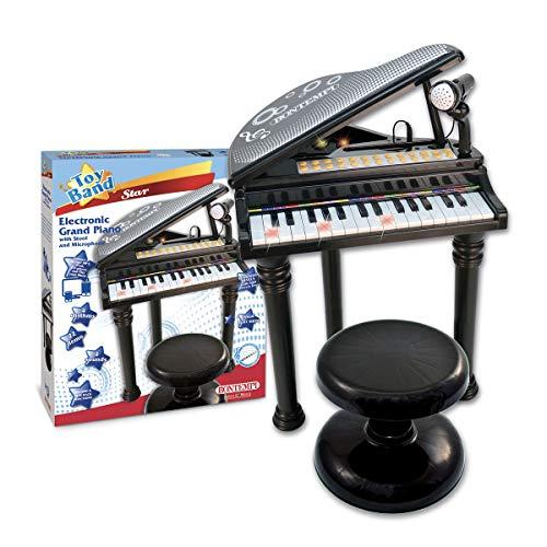 Charles Bentley Grand Piano electrónico Bontempi con 22 Canciones de demostración de micrófono Ajustable Efectos de luz 8 Sonidos y ritmos Edad 3+ años