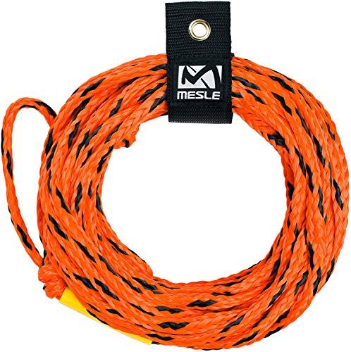 MESLE Schleppleine 2P 55\', schwimmendes Schlepp-Seil für 2-Personen, Länge 16,8 m, Polyethylen, Zug-Seil, schwimmfähig, jeweils Auge an Enden, Fun-Tube, Towable, Ringo, blau orange Lime, Farbe:orange