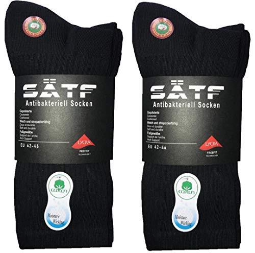 SÄTF Crew Socken Cushion Atmungsaktiv Lightweight 6er Pack (43-44, Schwarz)