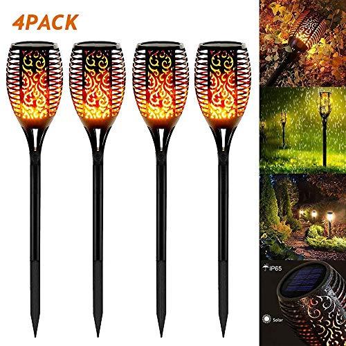 SHOUJIK Solarleuchte Garten Fackel Flammenlicht Außen Wetterfest 33 LED Solar Fackel Solarlampen Wasserdicht Outdoor Landschaft Lichter für Außen, mit Realistischen Flammen(4 Stück)