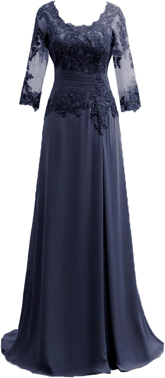 Mother of The Bride Dress with Long Sleeves Chiffon Mother Dresses Lace Formal Evening Gowns for Wedding Party