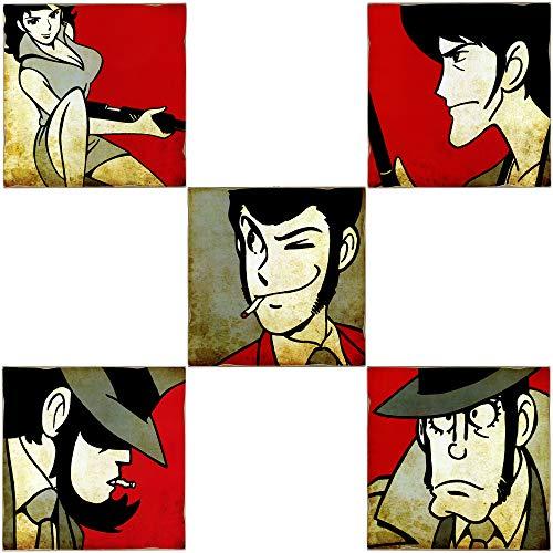 KUSTOM ART Serie di 5 Quadri Quadretti Stile Vintage Lupin III: Lupin, Goemon, Jigen, Fujiko, Zenigata da Collezione Stampa Laser su Legno Alta qualità Made in Italy - Idea Regalo