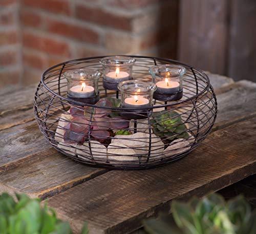 Deko Kranz aus Metall, braun mit 4 Glas Windlichtern, Shabby Chic, Teelichthalter