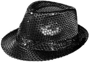 Alsino Led Fasching Glitzer Hut (Th-40), Farbe: schwarz, Kopfumfang: 58 cm - Partyhut Bogart Trilby
