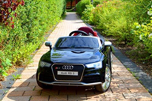 Audi RS 5 - XXL Kinderauto Elektroauto Kinderfahrzeug E-Auto - LED, Leder, Fernbedienung, Akku, Cabrio Verdeck - Schwarz-Metallic