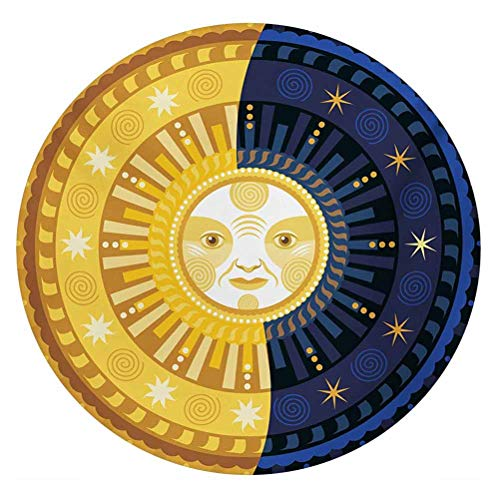LCGGDB Sun and Moon 3D Vinyl Stained Glass Film,Solstice Theme Transformation of The Day Ornament Spiritual Boho Art Design Window Sticker Decal for Office Meeting Room Home,Round 12'x12',Multicolor