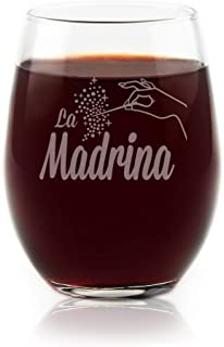 La Madrina Stemless Wine Glass Matches El Padrino Glass For Padrinos Wine Glass Gift Officially Licensed Collectible Premium Etched By Movies On Glass 15 Ounces
