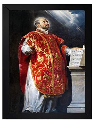 quadro catolico santo inacio de loyola tamanho 35x25cm com moldura e vidro